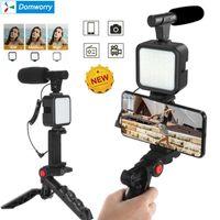 Teléfono celular soportes Soporte Smartphone Vlogging Kit Equipo de grabación de video con trípode Llenaje Light Shutter for Camera YouTube Set Vlogger