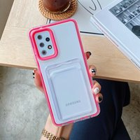 Card Slot Trasparent TPU PC Phone Cases for iPhone 13 Pro Max 12 Mini 11 XR 8 Plus Samsung A12 A32 A52 A72 5G A02S A03S A30S Huawei
