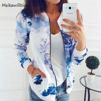 Women's Jackets 5XL Women Bomber Jacket Coat 2021 Casual Pockets Zipper Long Sleeve Coats Retro Floral Print Outerwear Tops Plus Size
