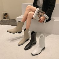 Bootie Womens Summer 2021 New Online Influencer Fashion Simple Pointed Toe Back Zipper Chunky Heel Non-Slip Chelsea Boots Fashion