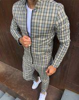 Vestes de mode Mens Tracksuits Ensembles Coloré Hommes Plaid Hommes Casual Fermeture à glissière Ensemble Automne Tops Pantalon Homme Sweat-shirt Poche