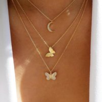 Design Vintage Retro Rhinestones Statement Necklaces Multilayer Charm Alloy Smart Butterfly Moon Pendants Sweater Chains Accessories Fashion Jewelry For Women