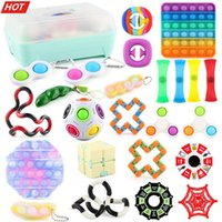 24PCS TOP Fidget Toys Pack Pops it Sensory Antistress Toy Pack Antistress Relief Figet Toys Box For Adults Kids