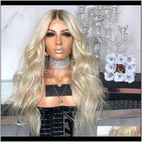 منتجات انخفاض التسليم 2021 نغمات طبيعية طويلة مجعد الشعر مجعد أومبير البلاتين شقراء الرباط الاصطناعية الجبهة الباروكات للنساء السود هيتيس