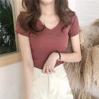 Women's T-Shirt Plus Size T Shirt Knitting Casual Pulovers Summer Clothes Korean V-Neck Sexy Fashion Short Sleeve Plain Crop Top
