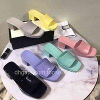 Marka Kadın Terlik En Kaliteli Tasarımcı Lady Sandalet Yaz Moda Jöle Slayt Yüksek Topuk Terlik Lüks Rahat Ayakkabılar Bayan Deri