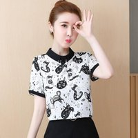 女性のブラウスシャツ2021ファッション夏の女性とトップスシフォン半袖スタンド衣料品猫プリントカジュアルレディースティーブルス