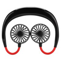 Electric Fans Small Neck Band Portable Mini Air Fan With Dual USB Rechargeable Cooler Lazy