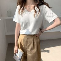 Casual Tee Retro V-Neck Summer Girls Thin Plus Short-Sleeved Solid Brief Basic Chic Loose Hot Tops T-shirts 210417