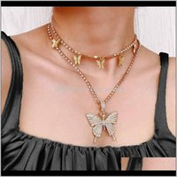 Necklaces & Pendants Jewelry2Pcs Women Statment Big Butterfly Pendant Necklace Rhinestone Chain For Bling Crystal Choker Jewelry Chokers Drop