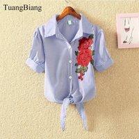 Tuangbiang 2021 Yaz Kısa Kollu Nakış Gömlek Corp Tops Kadın Çiçek Bluz Mavi Beyaz Gül Çizgili Gevşek Lace Up Üst Kadın Bluzlar