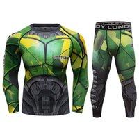 Cody Lundin открытый спортивный набор UPF 50+ анти ультрафиолетовый с длинным рукавом серфинг UV RASHGUARD мужчины Rash Guard рубашки и леггинсы MMA BJJ SET