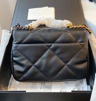 مع مربع جلد طبيعي مصمم حقيبة فاخرة لا 19 الذهب لهجة رفرف حقيبة حلوى لون مصمم أكياس 26 سنتيمتر جودة عالية التجارة