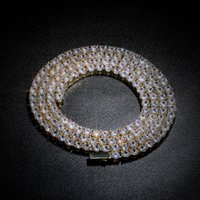 Spring-ring-clasps Single Row Zircon 4mm Necklaces Hip Hop Jewelry Necklace Blingbling Tennis Chain