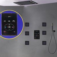 Sistema doccia di lusso con termostato Black Bathroom Faucet Mixer Smart Built-in integrato Set di pioggia 500 * 360mm Body Hydromassage Jets Set