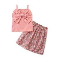 Conjuntos de ropa para niños Trajes de niñas Ropa de bebé Traje de bebé Traje de princesa Vestido Verano Dulce Cute Big Bow Tank Tops Flor Faldas Playa 2pcs B6866