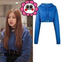 Damen Hoodies Sweatshirts KPOP Zweimal EXO Got7 Rose Blue Streetwear Harajuku Langarm Frauen Hip Hop Kurze Kapuzenkoreanische koreanische warme Kleidung