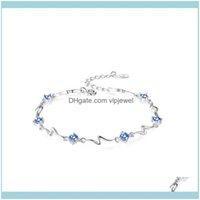 Bransoletki BiżuteriaFashion Osobowość Charm Lady Blue White Topaz Valentines Prom Sier Bransoletka Biżuteria Prezent Gemstone Day Ba W1P0 Bangle Drop
