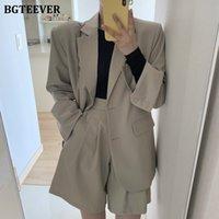 BGTeever элегантные офисные дамы 2 штуки Blazer набор зубчатых воротников женская сплошная куртка высокая талия шорты 2021 женские шорты