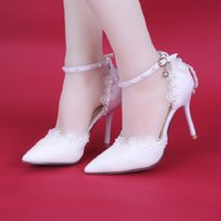Summer high-heeled white side air lace pearl bridal shoes stiletto pointed toe single shoes for wedding pos female sandals 210506