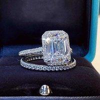 Smeraldo taglio 2CT Lab Diamond Promise Anello Set 925 Sterling Silver Engagement Wedding Band anelli per le donne gioielli da sposa festa Y0723