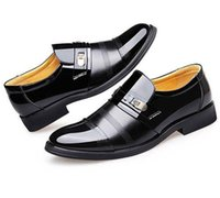 2021 men formal leather shoes mens Dress office male business Pointed Toe wedding Patent Oxford
