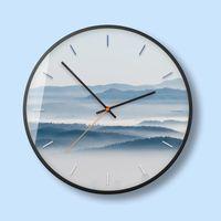 벽시계 북유럽 금속 조용한 시계 안개 숲 장식 그림 작은 신선한 침실 거실 시계 홈 장식 50A048