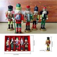 Christmas Decorations 5pcs set 12cm Nutcracker Puppet Ornaments Desktop Decoration Cartoons Drawing Walnuts Soldiers Band Dolls