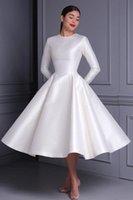 Other Wedding Dresses Short 2021 Little White Simple Satin Vintage O-Neck Long Sleeves A-Line Tea Length Custom Make Bridal Gown Bride