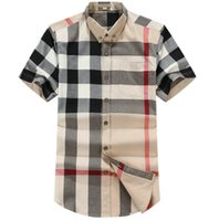 Luxurys desingers 남자의 비즈니스 캐주얼 셔츠 슬리브 스트라이프 슬림 남성 사회 패션 격자 무늬 M-3XL # 01