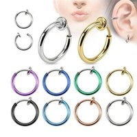 Hoop & Huggie Men Earring Fake Nose Ring Goth Punk Lip Ear Clip On Septum Piercing Rings For Women
