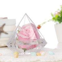 Regalo Wrap Wedding Party Home Clear Diamond Shape Trasparente Plastica Confezione Decorazione Decorazione Candy Box EEB6128