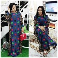 Casual Dresses African For Women Plus Size Chiffon Dress Patchwork Dot Polka Dashiki Robe Maxi Partyclub BC370