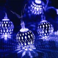 Solarstring-Leuchten im Freien 20 LEDs marokkanischer Splitter-Metallkugel-Garten-Fairy-Lampe