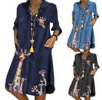 Vestido plisado de mezclilla de mujer azul
