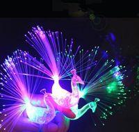 LED piscando pavão de dedo de fibra óptica anéis para raves ou festa favor 210419