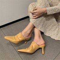 Dress Shoes 100% Genuine Leather Sexy Classic Thin High Heels Slipper Summer Elegant Ladies Mules Pumps Sandal Woman
