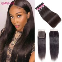Human Hair Bulks Bone Straight Bundles With Closure And Baby 4X4 Lace Burmese Remy Weave Closures