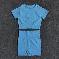 Women's Pants & Capris 2 Pcs set Women Short Sleeve High Waist Shorts Sportswear Yoga Set Vital Seamless Sport Suit Gym Clothing Fitness Cro