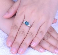 Engagement Ring for Women Natural Gemstone Rectangle Sky Blue Topaz Solid 925 Sterling Silver Fine Fashion Wedding Bride Lady ps2084