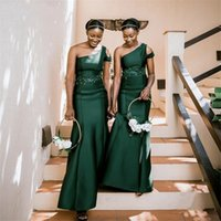 Bridesmaid Dresses Green One Shoulder Mermaid Satin Lace Crystal Bridesmaid Dresses With Zipper Wedding Party Bridemaid Gowns