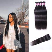Paquete de pelo recto natural 4 paquetes con cierre frontal 4x4 extensión de cabello largo indio peruano peruano brasileño Malasia extensiones de cabello