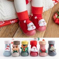 First Walkers 3M-3Y Toddler Christmas 3D Cartoon Prints Slipper Socks Shoes Baby Kids Girls Boys Lovely Non-slip Soft Bottom Winter Prewalke