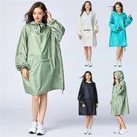 Womens Raincoat Stylish Waterproof Rain Poncho Cloak with Hood Sleeves and Big Pocket on Front