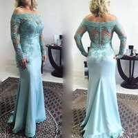 Prom Gown Floor Length Mother of the Bride Dresses Off the Shoulder Long Sleeve Plus Size Lace Mermaid Dress Mint Green Bridal Gowns