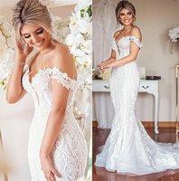 2022 디자이너 레이스 웨딩 드레스 플러스 사이즈 인어 신부 가운 빈티지 숄더 섹시한 아가씨 결혼 드레스 아랍어 아소 에비 화이트 아이보리