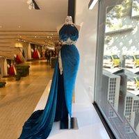 Vintage Velour Evening Dress 2021 High Split Crystal Beading Prom Gowns Women Formal Wear Vestidos De Novia