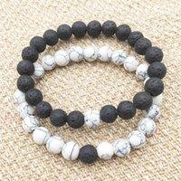 Naturel Lava Rock Perles Chakra Bracelet 2 Couleurs Guérison Energie Pierre Méditation Mala Bracelet Fashion Essential Huile Diffuseur Bijoux JY842