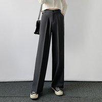 Limiguyue Mujeres Pantalones de pierna ancha Oficina de primavera Oficina de primavera Pantalones largos Pantalones de otoño Sólido Solido Straight High Cintura Pantalón K260 Capris
