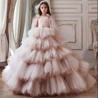 2021 Princess Flower Girl Dresses For Wedding V Neck Ruffles Tiered Skirts Toddler Pageant Gowns Tulle First Communion Dress